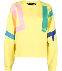 love moschino logo print drop-shoulder sweatshirt - yellow