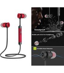 audifonos bluetooth inalámbrico, le-211 metal estéreo hd manos libres audifonos impermeable deportivos corriendo ruido cancelación de  auriculares para sony iphone samsung (rojo)