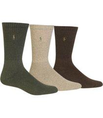 polo ralph lauren 3 pack ribbed cushion foot crew men's socks
