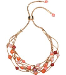 style & co gold-tone beaded multi-row slider bracelet, created for macy's