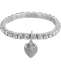 2028 crystal heart charm stretch bracelet