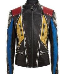 menhandmade multicolor philipp plein full studded leather jacket
