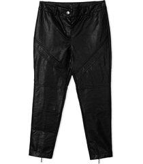 alberta ferretti black faux leather trousers