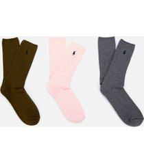polo ralph lauren men's 3 pack cotton socks - pink/grey/olive