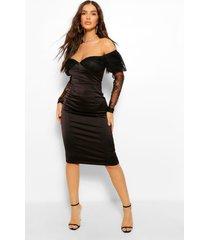 kanten midi jurk met uitgesneden hals en pofmouwen, zwart