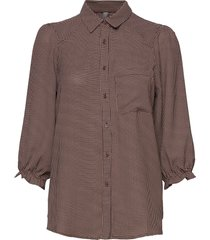 curaya shirt blouse lange mouwen bruin culture