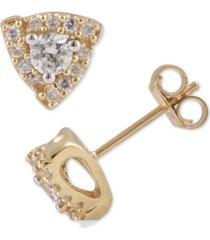 diamond triangle halo stud earrings (1/2 ct. t.w.) in 10k gold
