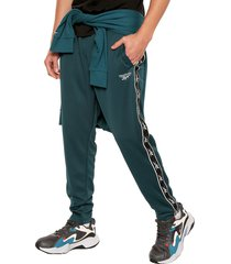 pantalón verde turquesa-blanco reebok classics vestor tape