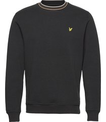 pique sweatshirt with tipping sweat-shirt trui zwart lyle & scott