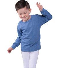 camiseta manga larga azul santana cuello redondo