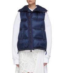 asymmetric zip front high neck puffer vest
