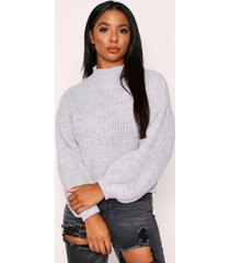 balloon sleeve knitted sweater, grey