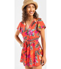 bradlee tropical surplice romper - red