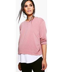 maternity 2 in 1 raw edge top, blush