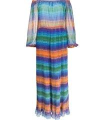a.n.g.e.l.o. vintage cult 1970s off-the-shoulder max dress - blue