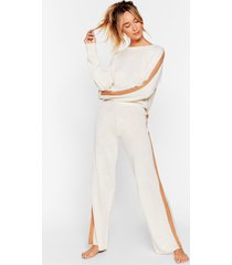 womens we're your stripe sweater and pants lounge set - ecru