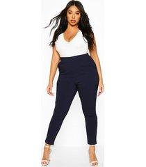 plus strakke super stretch broek, marineblauw