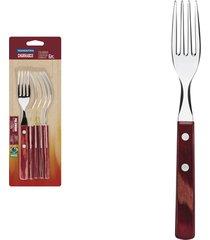 conjunto de garfos para churrasco tramontina em aço inox com cabo vermelho polywood 6 peças 21198716