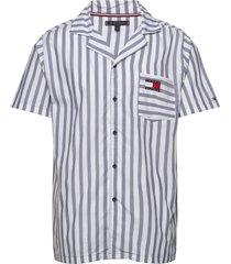 ss pj shirt pyjama blauw tommy hilfiger
