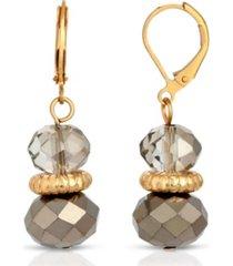 2028 gold-tone hematite beaded drop earrings
