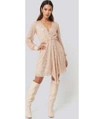 trendyol sequined double breasted collar dress - gold