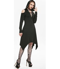 hooded lace-up cold shoulder handkerchief gothic dress