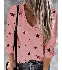 camiseta de manga larga con cuello de pico y estampado de estrellas