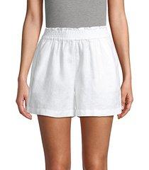 smocked-waist linen shorts