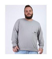 """blusão de moletom masculino plus size com bolso game on"""" gola careca cinza"""""""