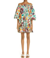 la doublej ladouble j paloma off the shoulder cover-up dress, size x-small in selva bianco at nordstrom