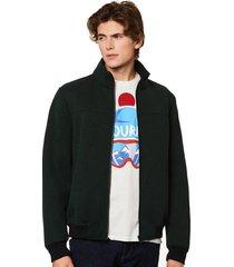 ribbed knit green jacket