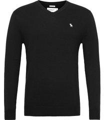 anf mens sweaters stickad tröja v-krage svart abercrombie & fitch