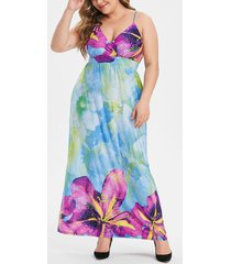 floral shirred plus size maxi cami dress