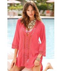 vestido de la playa del v-cuello profundo de cordón a cielo abierto bikini de la blusa -rojo