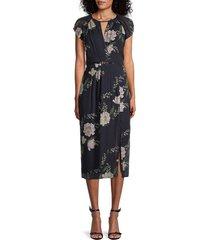 ml monique lhuillier women's floral midi dress - navy multi - size 0