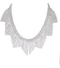 nina crystal fringe bib necklace