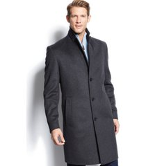 boss hugo boss charcoal twill stratus wool overcoat