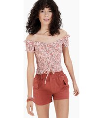 crave fame juniors' smocked cropped top