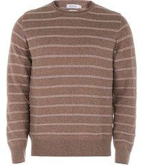 suéter cuello redondo en algodón a rayas slim fit para hombre 04076