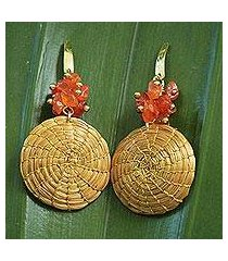 agate and golden grass dangle earrings, 'golden discus' (brazil)