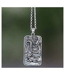 sterling silver pendant necklace, 'mythical battle' (indonesia)