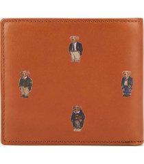 polo ralph lauren men's smooth leather bear logo wallet - tan