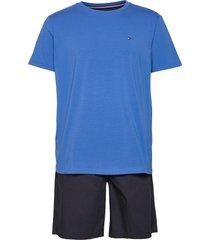 cn ss short woven set pyjama blauw tommy hilfiger