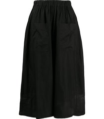 zucca poplin flared skirt - black