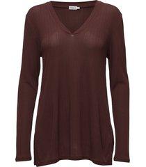 deep v jersey blouse t-shirts & tops long-sleeved paars filippa k