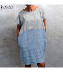 zanzea las mujeres más del tamaño de manga corta del cuello de o vestido casual de las señoras mini vestidos holgados -azul claro