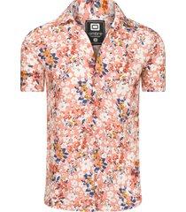 ombre overhemd korte mouw bloemenprint pink