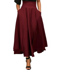 women's a-line, flared, vintage, high waist, red, long, ankle length skirt