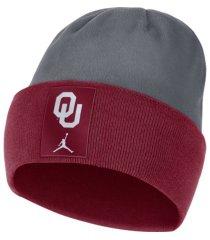 jordan oklahoma sooners sideline fleece beanie knit hat