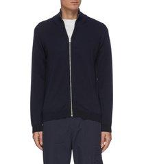 'fjord' mockneck merino wool zip up cardigan